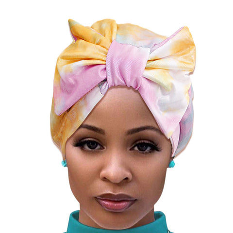Yellow Tie Dye Bow Turban