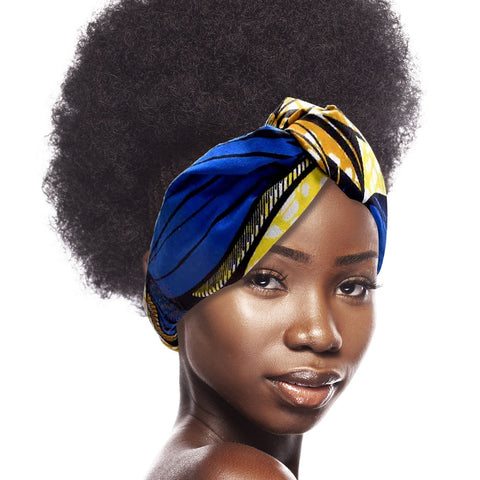 Royal Blue Afrocentric Knotted Headband