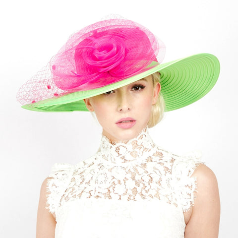 Pink and Green Floral Church Hat