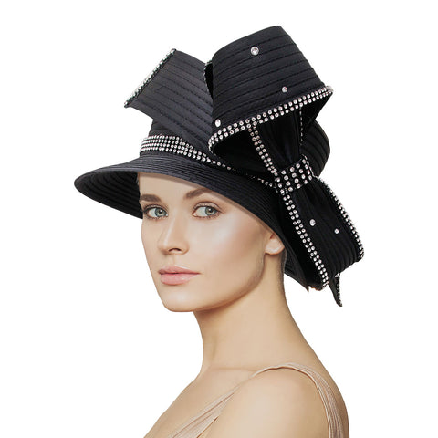 Black Braided Bow Church Hat