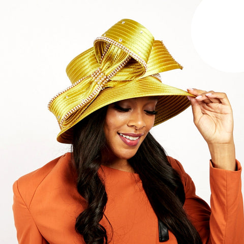 Gold Braided Bow Church Hat