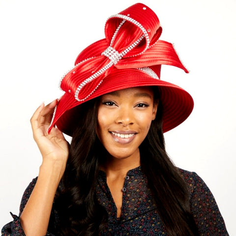 Red Braided Bow Church Hat