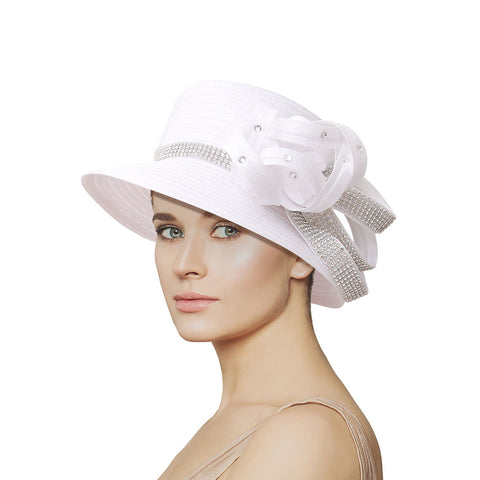 White Braided Knot Church Hat