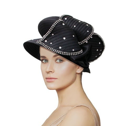 Black Short Brim Petal Church Hat
