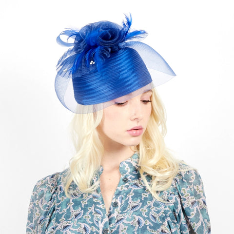 Royal Blue Feather Birdcage Pill Hat