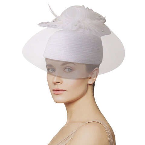 White Feather Birdcage Pill Hat