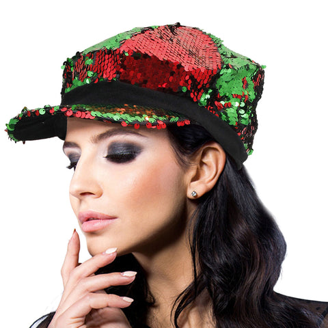 Red and Green Sequin Newsboy Cap