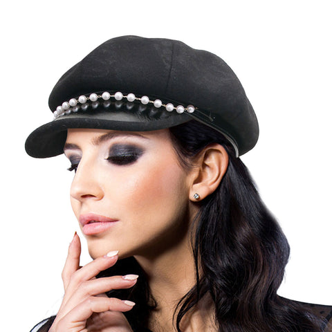 Thick Black Newsboy Cap with Pearls