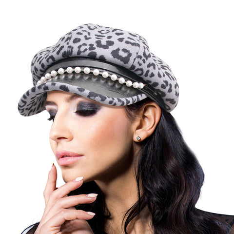 Thick Gray Leopard Newsboy Cap