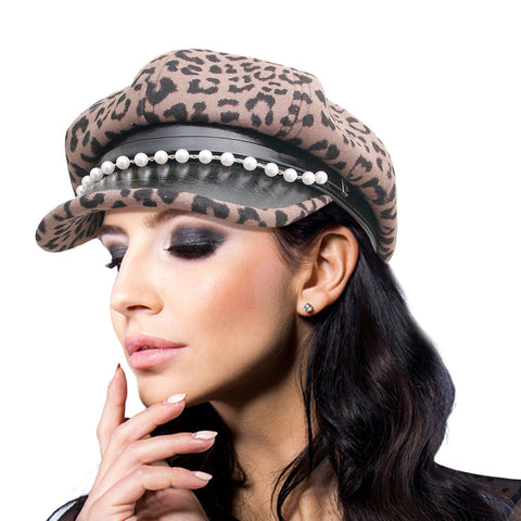 Thick Brown Leopard Newsboy Cap