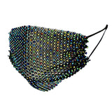 Multi Color Rhinestone Black Mesh Fashion Mask
