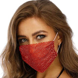 Red Rhinestone Mesh Fashion Mask