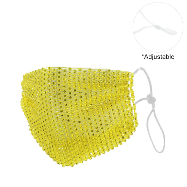 Yellow Rhinestone Mesh Fashion Mask