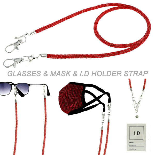 Red Rhinestone Mask Glasses Chain