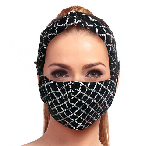 Silver Sequin Velvet Mask Headband Set