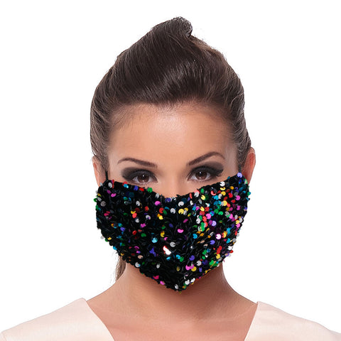 Multi Color Sequin Velvet Mask