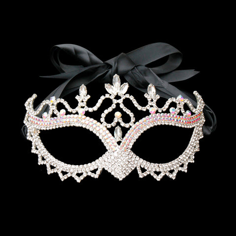 Silver and Aurora Borealis Rhinestone Masquerade Mask with Pointed Nose