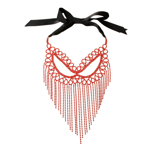 Red Rhinestone Fringe Mask