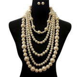 Cream Pearl Necklace Set