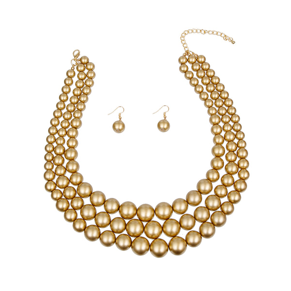 Gold Pearl Graduated Multi Strand Necklace Set