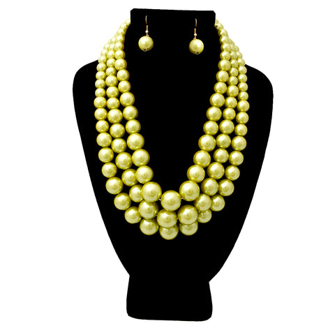 Lime Green Pearl Graduated Multi Strand Necklace Set