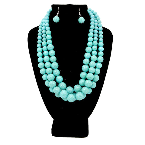 Cracked Turquoise Pearl Graduated Multi Strand Necklace Set