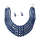 Royal Blue Pearl 5 Strand Necklace Set
