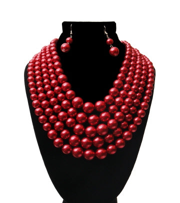 Wine Multi Strand Pearl Necklace Set