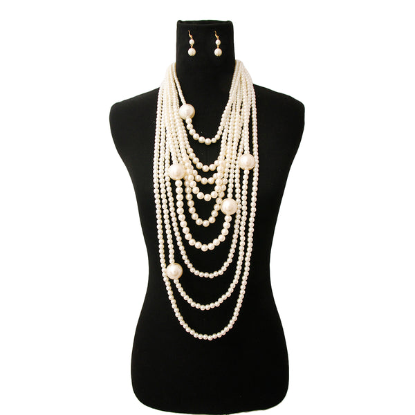 Long Layered Strand Cream Pearl Set