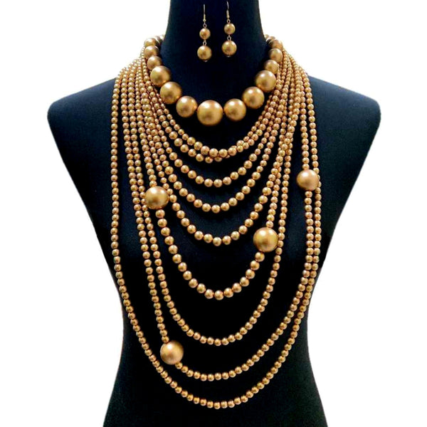 Long Gold Pearl Necklace Set
