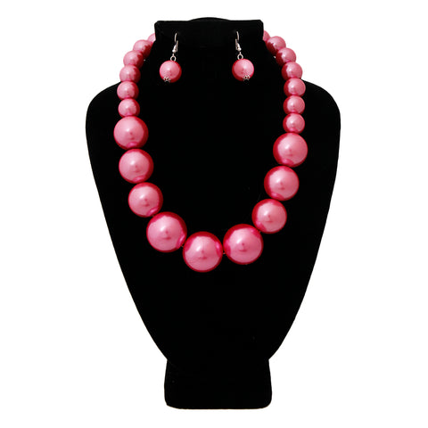 Pink Graduated Pearl Necklace Set