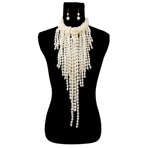 Clustered Cream Pearl Necklace Set