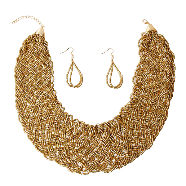 Gold Seed Bead Wide Collar Set
