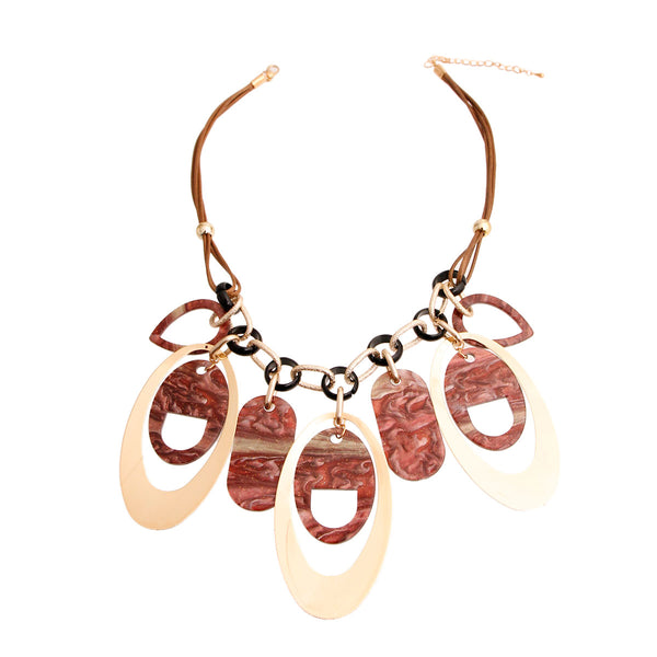 Gold Brown Leather Drop Necklace