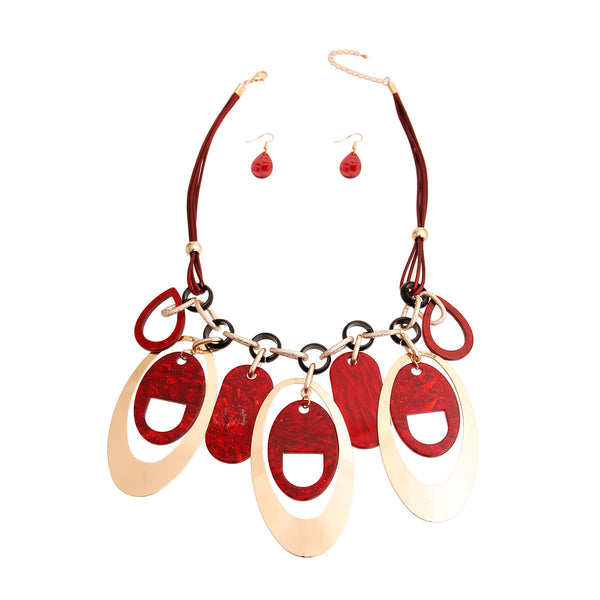 Gold Red Leather Drop Necklace