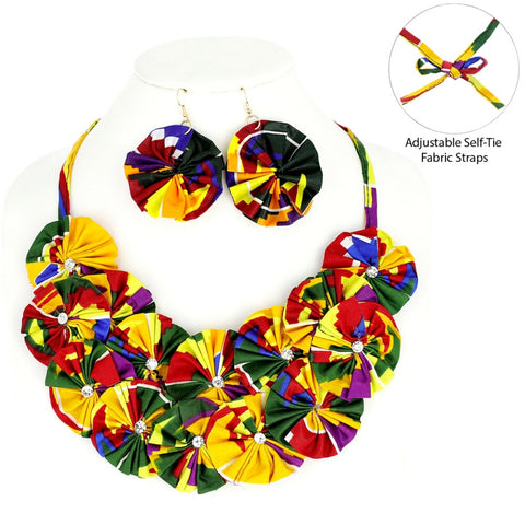 Multi Color Afrocentric Flower Necklace