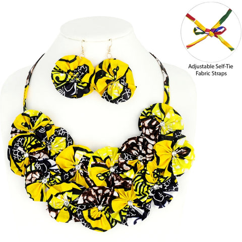 Yellow Afrocentric Flower Necklace