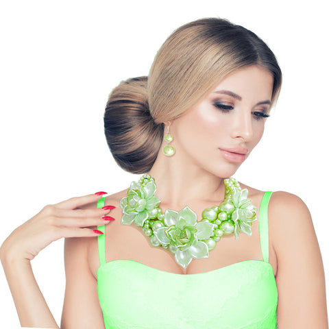 Lime Pearl Flower Choker Set