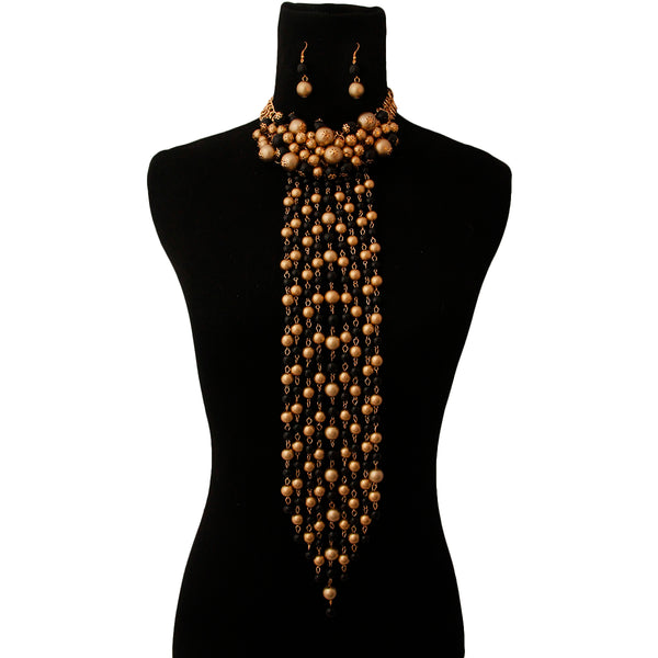 Black and Gold Pearl Cluster Fringe Choker