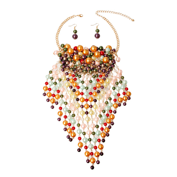 Multi Color Pearl Graduated Fringe Set