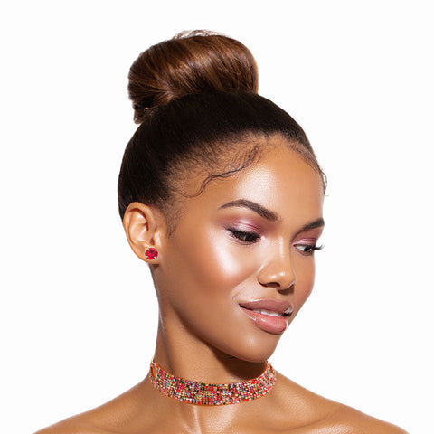 Multi Color Rhinestone 9 Line Choker