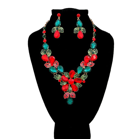 Gold with Green and Red Crystal Rhinestones Bib Necklace