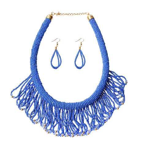 Draped Bead Fringe Necklace Set