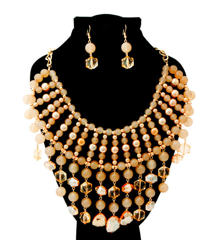 Heavy Rich Glass Bead Necklace Set