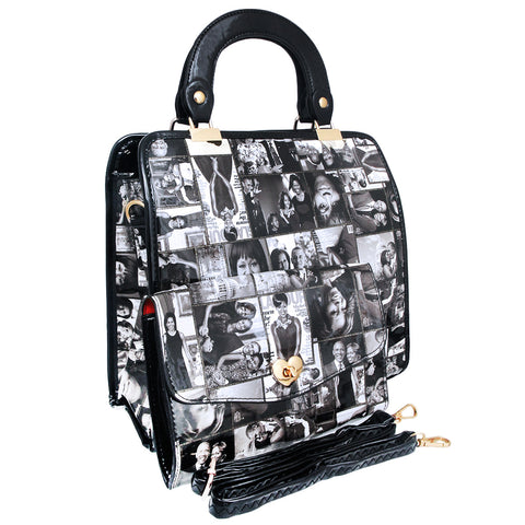 Black and White Michelle Obama Square Handbag
