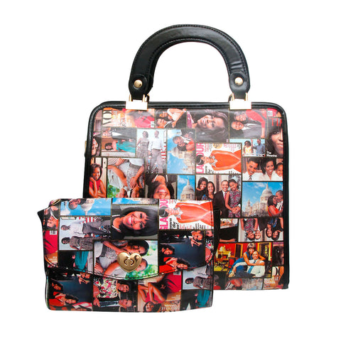Black Michelle Obama Square Handbag