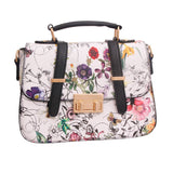 White Leather Floral Crossbody