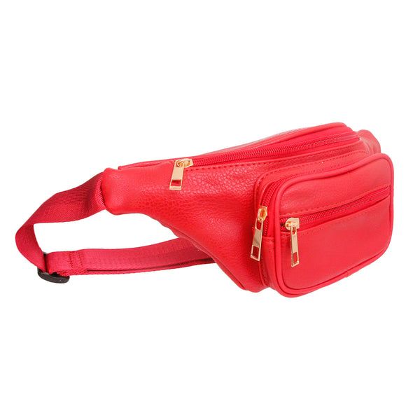 Red Leather Fanny Pack