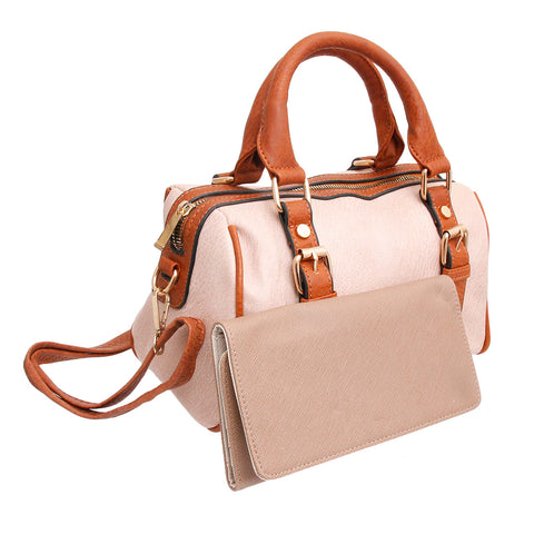 Light Brown Belted Satchel Set