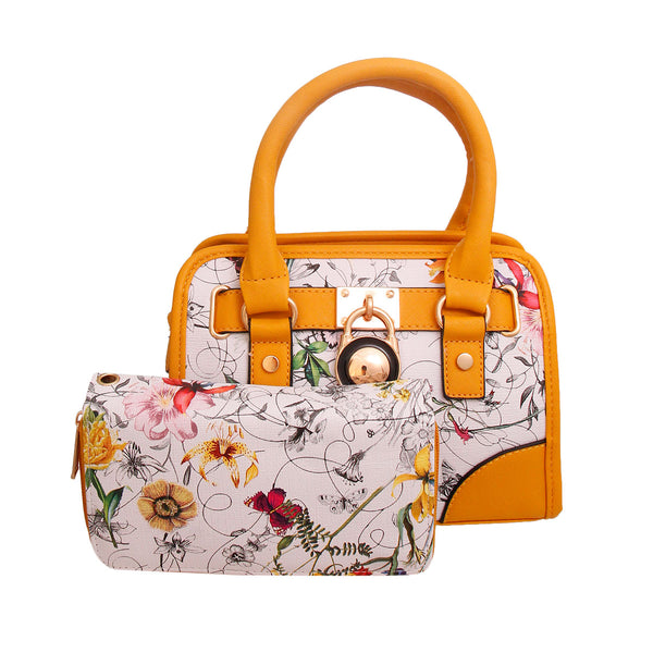 Yellow Leather Floral Handbag Set